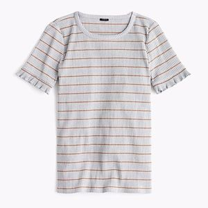 J. Crew Tops - NWT J.Crew Ribbed striped T-shirt  ruffled sleeve